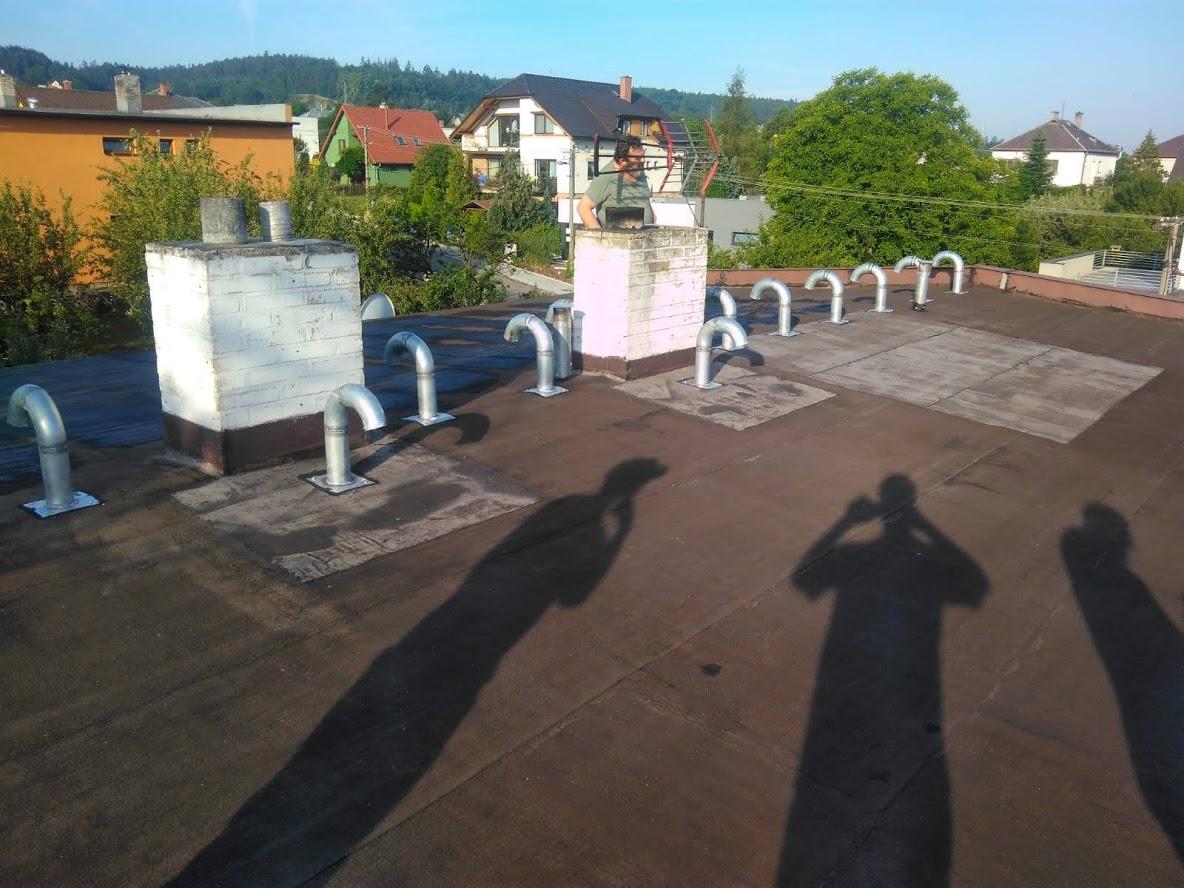 Plochá střecha, silikonový nátěr Mokré Lazce